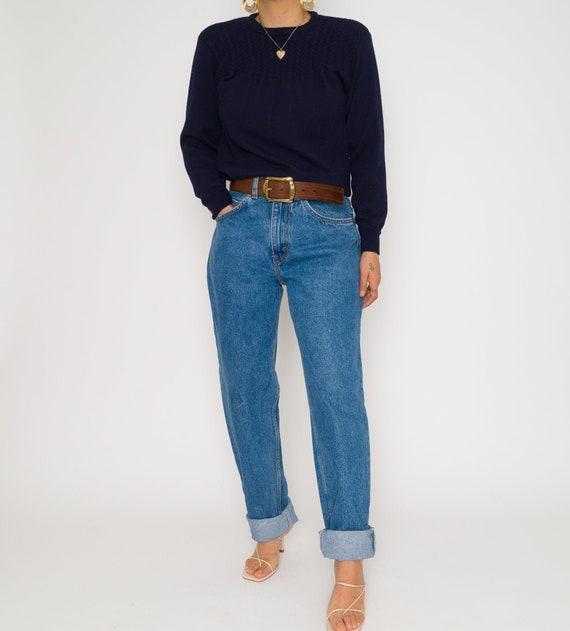 Vintage Navy Deep Blue Ribbed 1990's Sweater | Vin