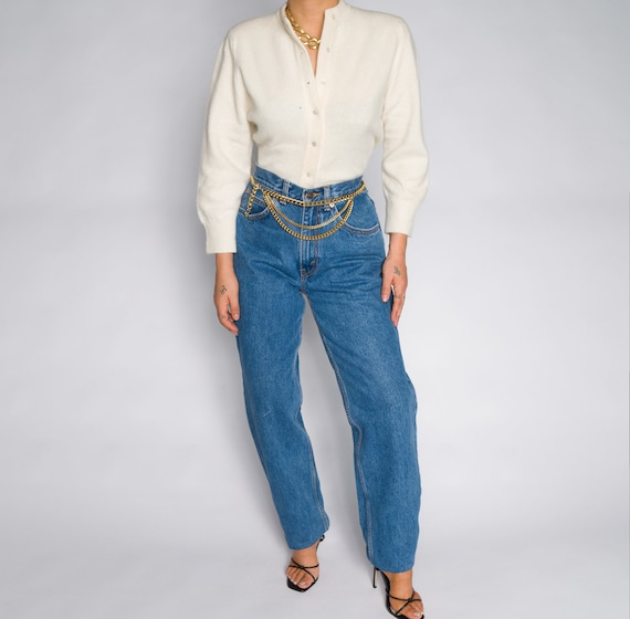 Versace Blue High Waisted Denim Trousers - image 4