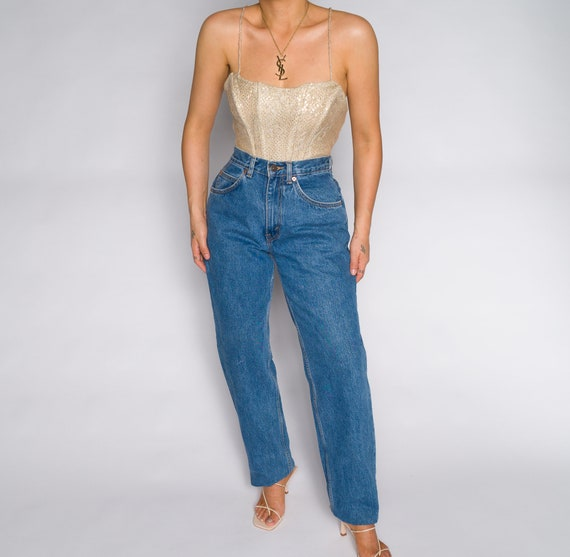 Versace Blue High Waisted Denim Trousers - image 5
