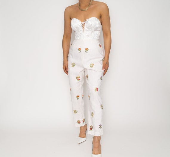Gold High Waisted Floral Capri Trousers | Vintage