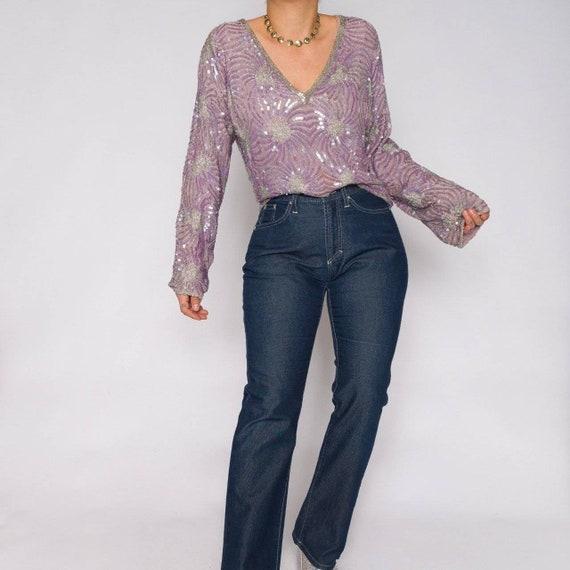 Vintage Beaded 100% Silk Sweater | Sequin V Neck B