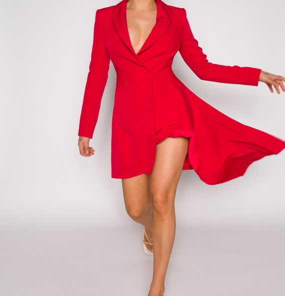 Red 00s Long Blazer + Dress  | Red Classic Long Sl