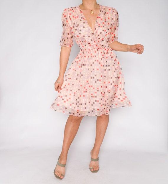 Vintage Geometric Multi Colored Dress | Pink Paste