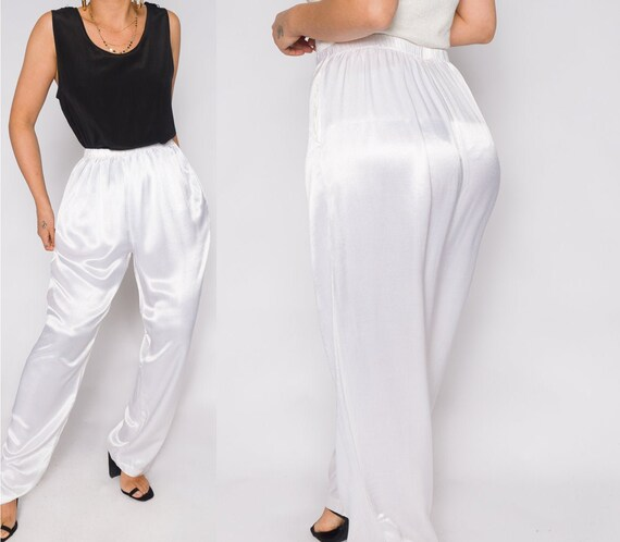 White Silky Charmeuse Pants | Stretchy Waistband … - image 1
