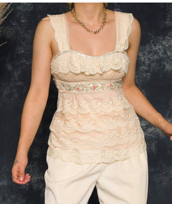 Nanette Lepore Lace Blouse | Cream Floral Camisole - image 2