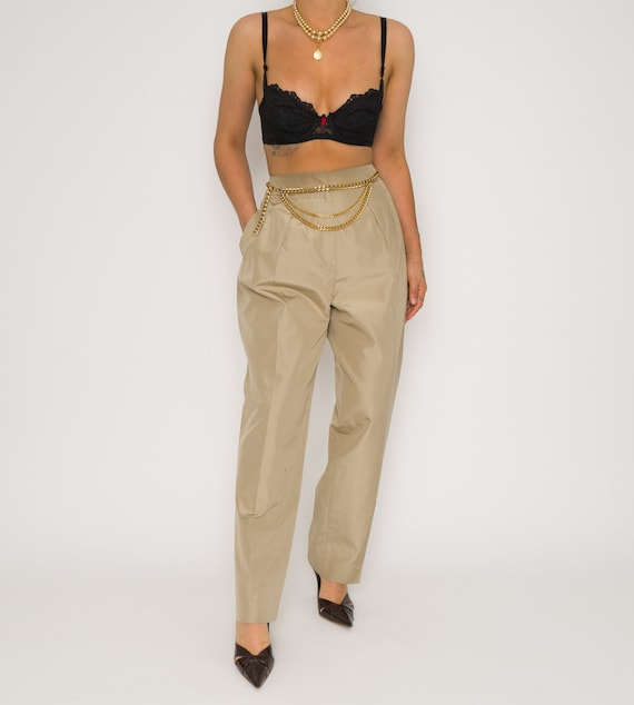 Gold High Waisted Trousers | Vintage Gold Escada D