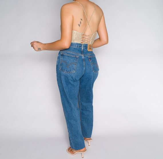 Versace Blue High Waisted Denim Trousers - image 3