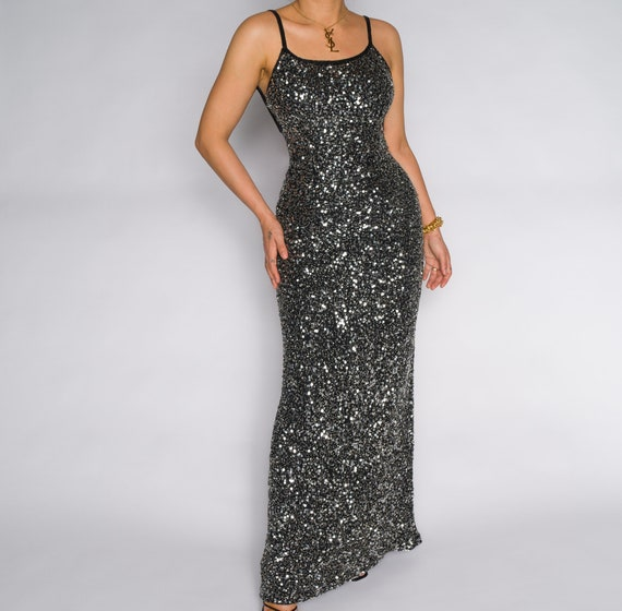 Vintage Gray Sequin Maxi Slip 1990s Dress Gown | … - image 3