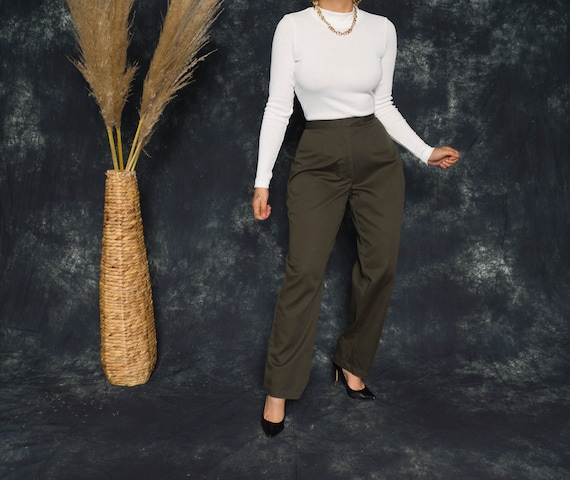 Vintage 80's Forest Green Pleated Trousers