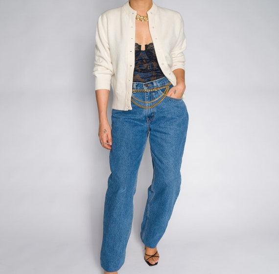 Versace Blue High Waisted Denim Trousers - image 7