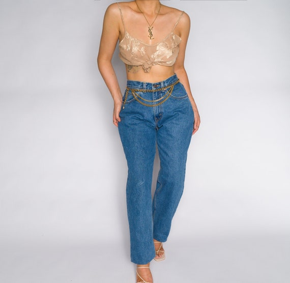 Versace Blue High Waisted Denim Trousers - image 1