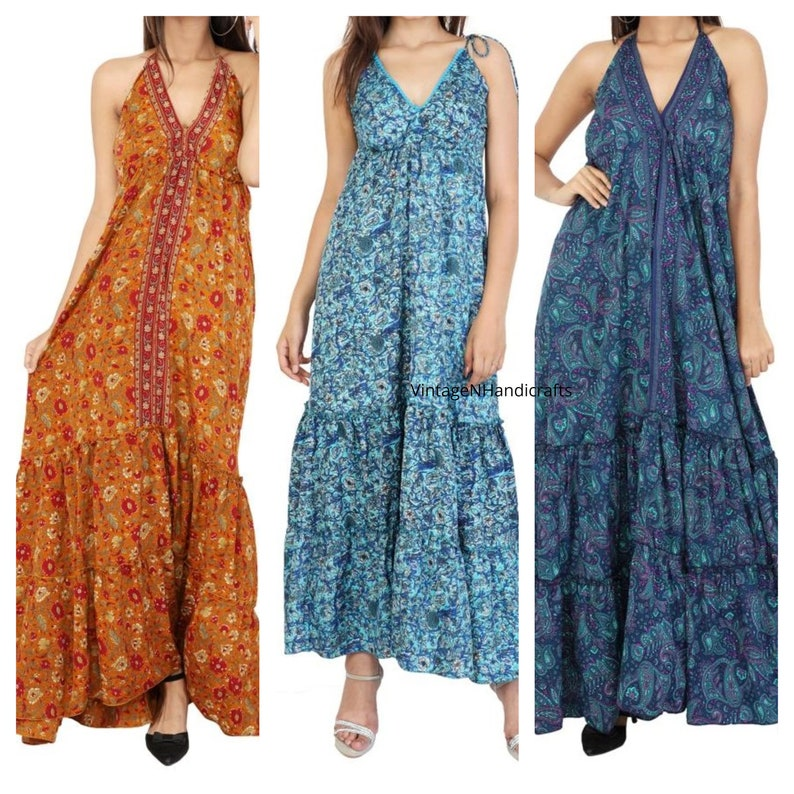 3 Pcs Of Halter Neck Dress, Indian Vintage