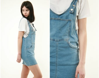 32ef7868185 80s Vintage Vtg Rare Denim Short Dress Adjustable Straps Dungaree 291