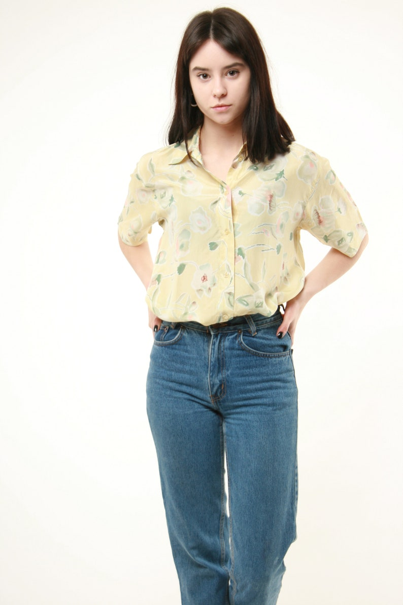 90s Vintage Vtg Rare Abstract Print Pattern Silk Crazy Festival Shirt Blouse AA239