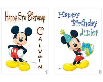 Personalised Printed Disney Inspired MICKEY MOUSE Birthday Cards Any Age Name Relation Message