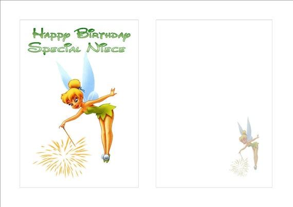 Tarjeta De Cumpleaños Tinkerbell Personalizado agregar su propio nombre y edad