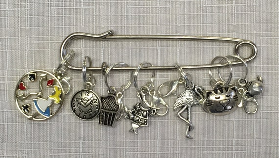 Alice in Wonderland Knitting Marker Set Stitch Marker Bracelet