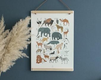 Abecedaire, Animals, Children's Room Poster, ABC poster, ABC, Alphabet, Birth Gift, Leo Bizard