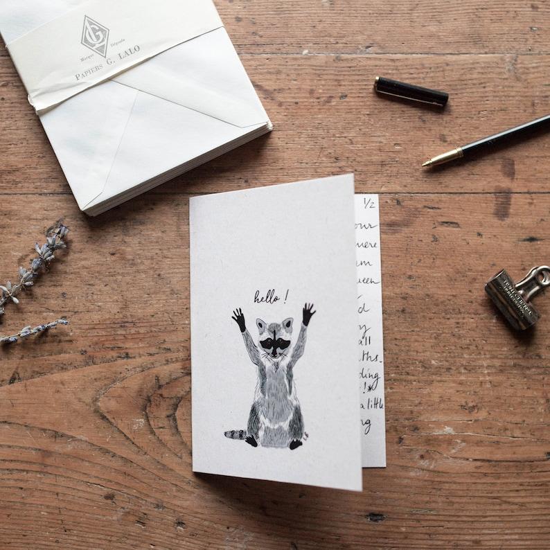 watercolor Everyday Map Raccoon Hello stationery Leo Bizard