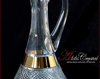 "Bohemia crystal wine decanter 750ml - ""Versace"" Gold - New!"