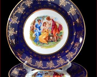 """Czech porcelain set of plates - """"Madonna"""" cobalt color 6pc New!"""