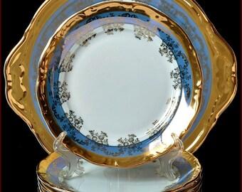 """Czech porcelain set of plates - """"Royal"""" blue color 7pc New!"""