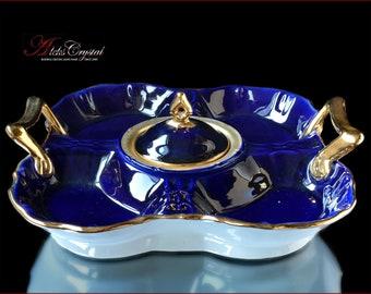 Bohemian Porcelain Fruit bowl D30 cm - Kobalt Gold
