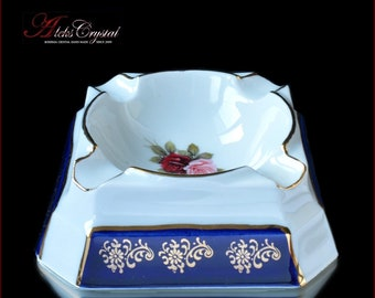 "Czech Porcelain Ashtray - ""Rose"" Blue 1pc New!"