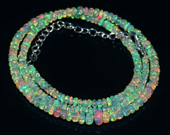 Opal Necklace Multi Color Opal Faceted Beads Necklace Natural Ethiopian Fire Opal Beads Necklace Handmade Opal Necklace 52 Carat 16
