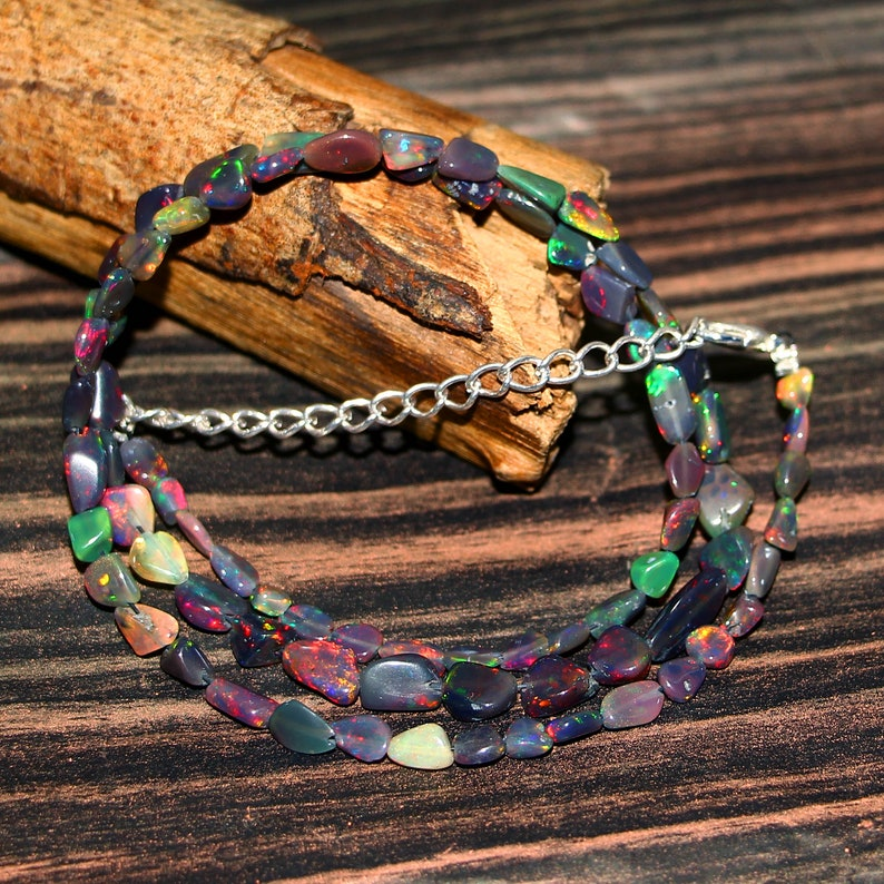 AAA++ Multi Colour Fire Opal Tumble Quality Black Opal #D3 17.5 Inches Natural Ethiopian Black Opal Gemstone Tumble Beads Necklace