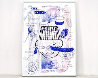 """Affiche """"La macule"""", sérigraphie d'art 50x70 cm, édition limitée"""