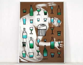 Poster The chocolate cake, art screen printing 50x70 cm, limited edition, kitchen decor