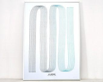 Minimalist poster Le japchae (blue gradient), art screen printing 50x70 cm, limited edition