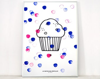 Poster Le muffin aux blueberries, art screen printing 50x70 cm, limited edition, kitchen decor