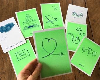Lot 5 postcards A6 risography neon green, humor love boredom