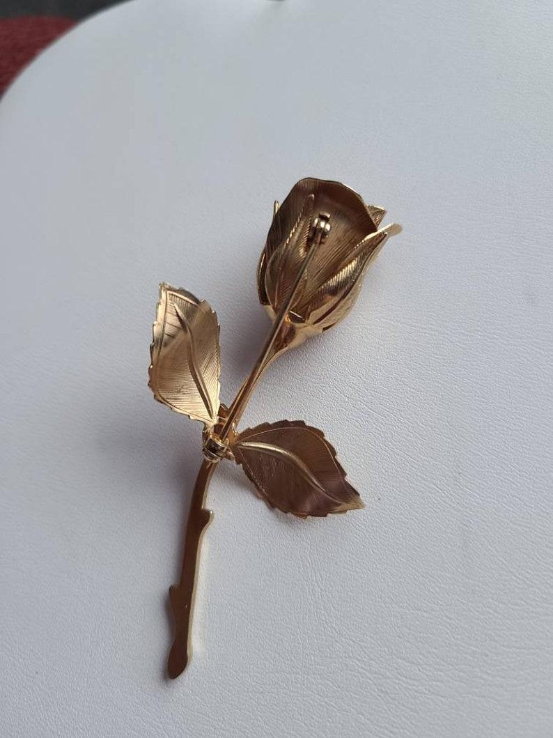 Vintage Gold Tone Rose Brooch Pin