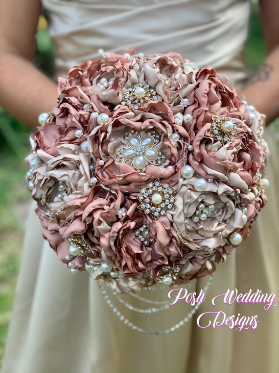 Fabric Flower and Brooch Bouquet Romantic Brooch Bouquet OR Your Colors Blush Tan Bouquet Ivory Cream Champagne
