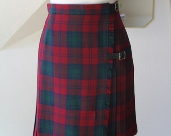 a8a3dc7dc296 Vintage 1980's Plaid Tartan Pure New Wool Burgundy Navy Forest Green  Pleated St Michael From Marks & Spencer Skirt // Size XS S