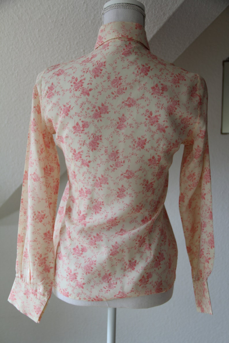 Vintage 1970/'s Rose Shirt Long Collar Long Sleeve Pink and Cream Made in France Nafta Line Paris  Size 40  Small