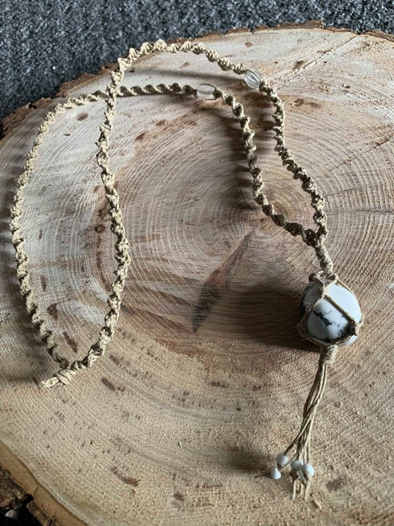 Hemp Macrame Necklace With White Howlite Pendant And Glass Etsy