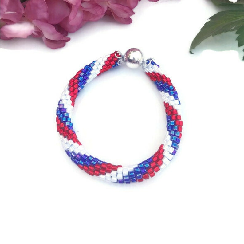 Crochet Bracelet No Clasp Jewelry Red White Blue Silver image 0