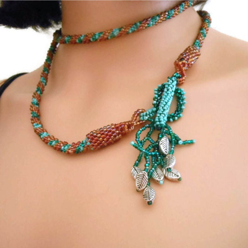 Crochet Necklace Green Gold Lariat Seed Bead Jewelry Gift image 0