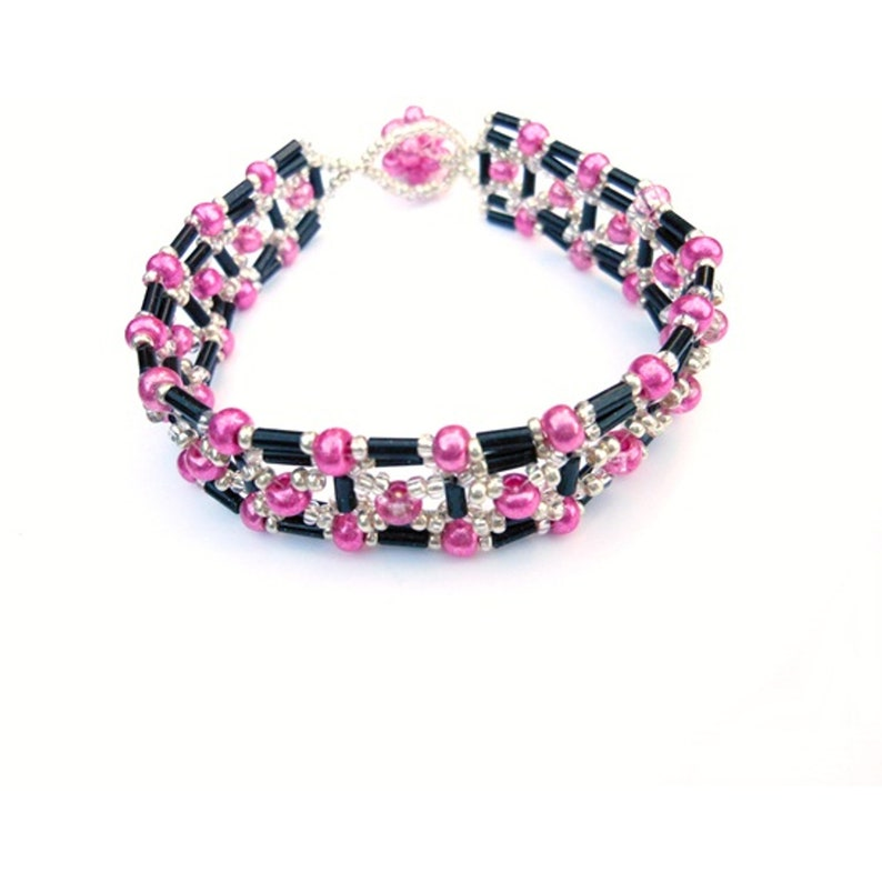 Pink Black Bracelet Seed Bead Jewelry Gift for Her image 0