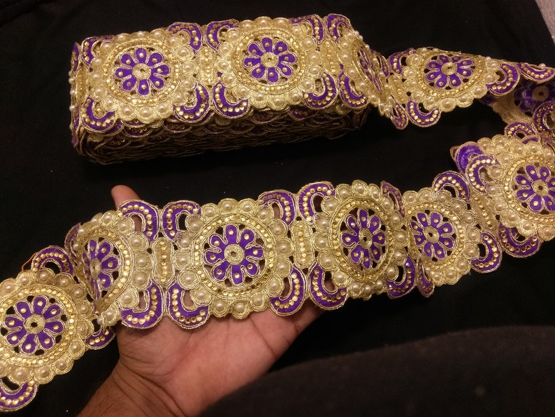 Floral Beaded Trim Gold beaded Lace Indian Beaded Gold And Purple Floral Embroidered Ribbon Lace Trim Gold Beaded Trim Indian Trims
