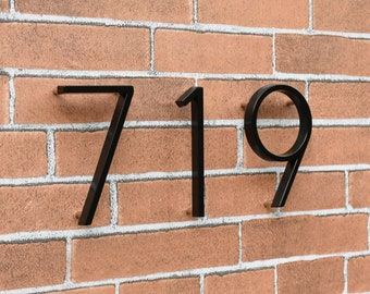 5 Inch Modern Floating Metal House Numbers Black