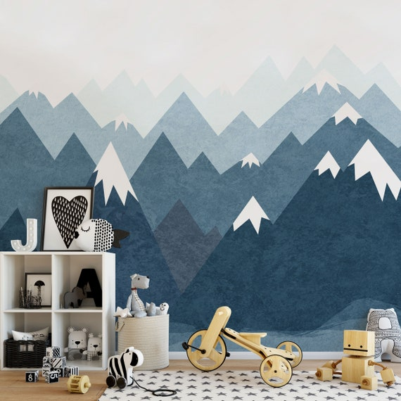 Mountain Wall Decal Wallpaper Nursery Baby Room Navy Blue Wall Etsy