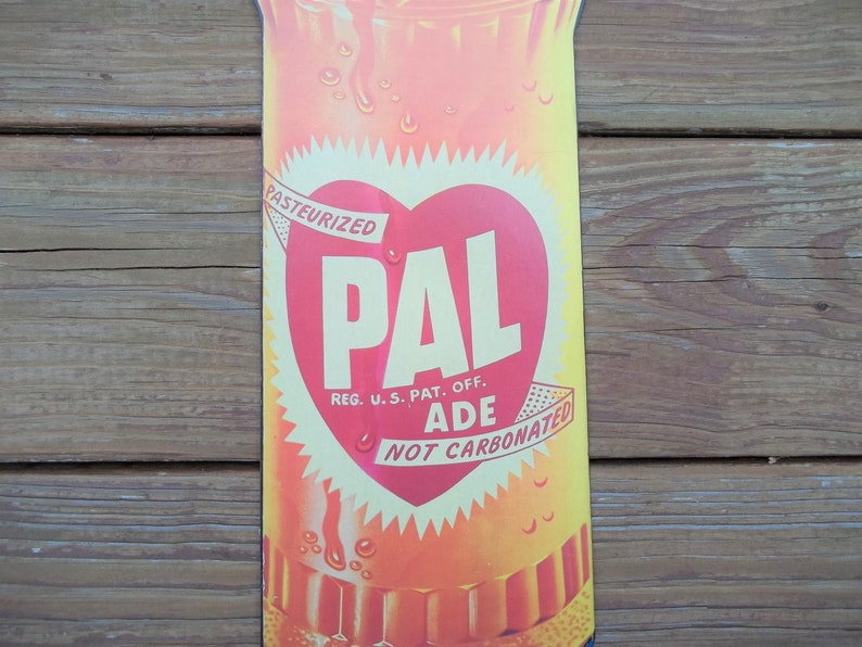 Vintage Pal Ade Love Heart Soda Bottle Advertising Sign Heavy Paper Collectible Pop Memorabilia Home Decor Wall Hanging