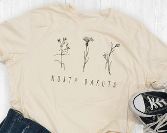 North Dakota State Floral Tee Shirt Or Hoodie By Lily and Grace Adults