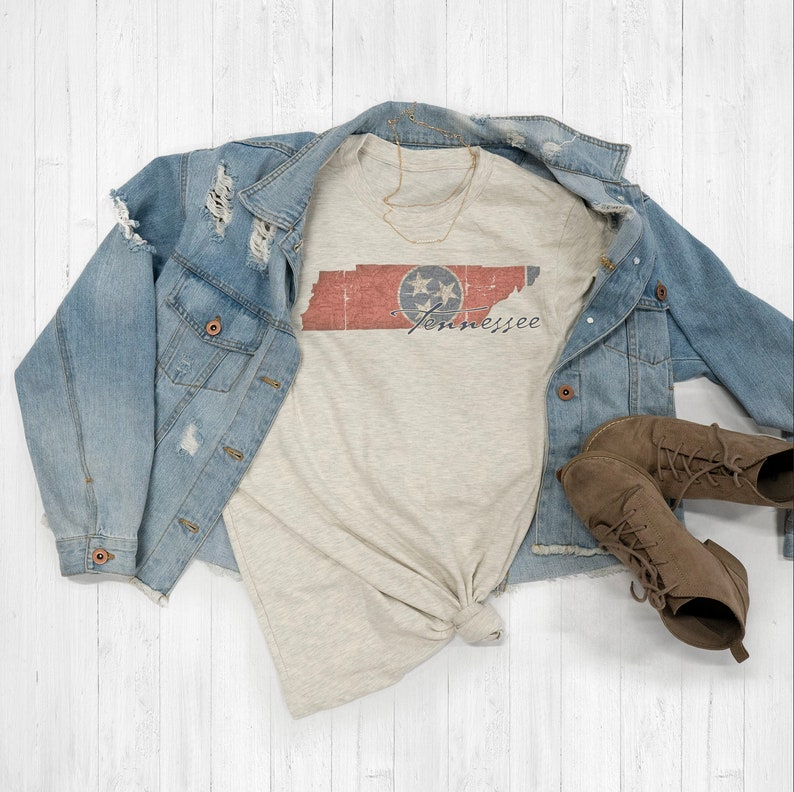 Tennessee Vintage Flag State Map Tee Shirt Or Hoodie By Lily and Grace Adults