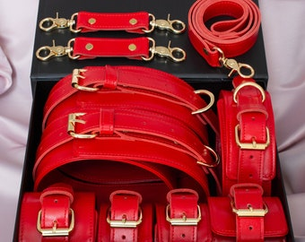 Full BDSM Set Bright Red Hand Ankle Thigh Cuffs Collar with Leash Unisex Submissive Restraints Fetish Leather Gear Sex Toys Wedding Gift